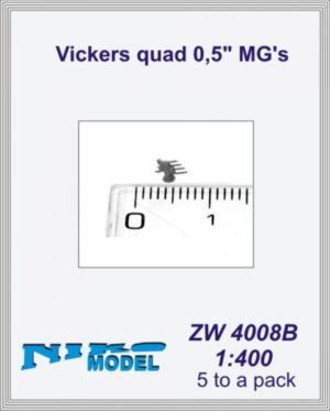 "Niko Model 1:400 Vickers Quad 0.5"" MG's (5 to a pack)"