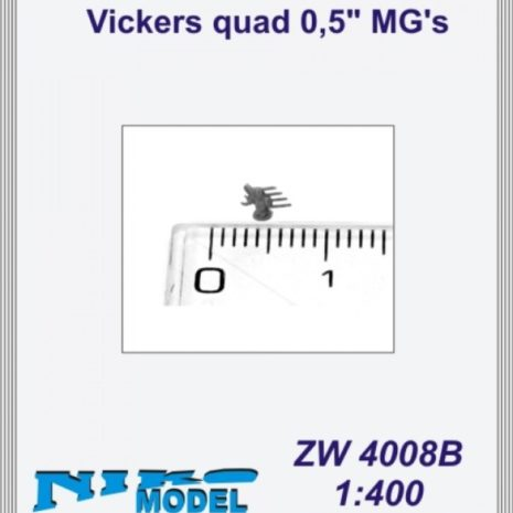"""Niko Model 1:400 Vickers Quad 0.5"""" MG's (5 to a pack)"""