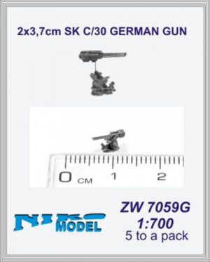 Niko Model 1:700 2 x 3.7cm SK C/30 German Gun (5 to a pack)
