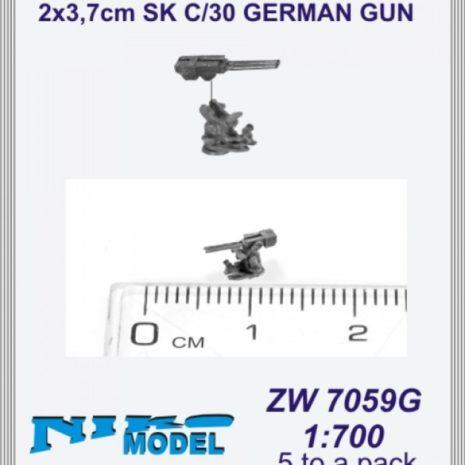 Niko Model 1:700 2 x 3.7cm SK C/30 German Gun (5 to a pack)