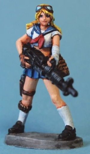 Aurora Model 1/48 Female With Machine Gun