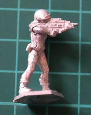 Denizen Miniatures 25mm Female Trooper Firing ACR (Adaptive Combat Rifle)