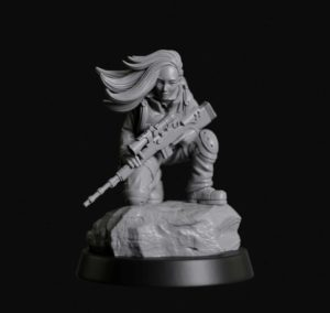 Manufaktura Miniatures Sniper Girl With Designated Marksman Rifle