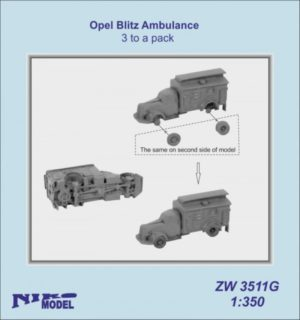 Niko Model 1:350 Opel Blitz Ambulance (3 to a pack)