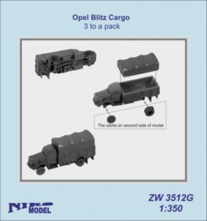 Niko Model 1:350 Opel Blitz 3.6-6700A 4 x 4 German Cargo Truck (3 to a pack)
