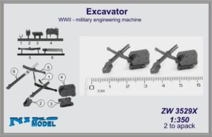 Niko Model 1:350 Excavator WWII Military Engineering Machine (2 to a pack)