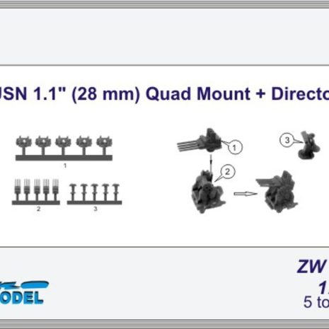 """Niko Model 1:700 USN 1.1"""" (28mm) Quad Mount and Director (5 to a pack)"""