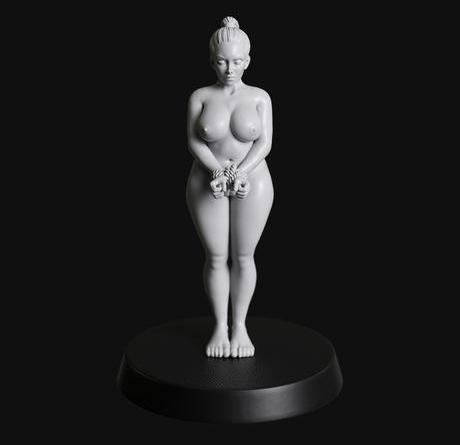 Manufaktura Miniatures Short Haired Chubby Female Submissive Tied Standing